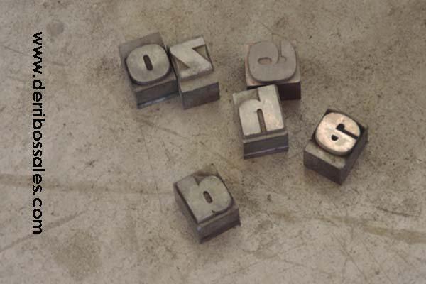 familias de letras, cajones, tampones, letras de caucho,...