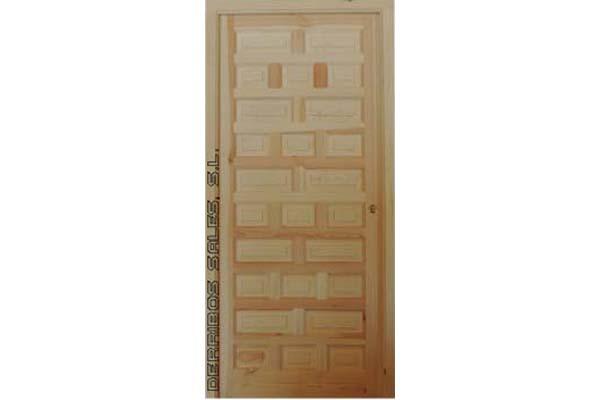 Puerta de calle, maciza, Mod. CASTELLANA CIEGA de 210 x95 cm. Hoja de 4,5 cm.de grosor, marco directo de 9 x 7 cm., bisagras antipalanca, cerradura y herrajes. Las Medidas de nuestras puertas de madera se facilitan con el marco directo incluido. POSIBILIDAD DE FABRICACION A MEDIDA.