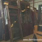 Puerta balconera 225 x 80 cm. Balconeras de aluminio con acabado imitación a madera. Abatible, con persiana y cristal tipo climalit.