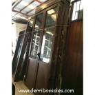 Puertas balconeras grandes de 280 x 130 cm. Balconeras de aluminio con acabado imitación a madera. Abatible, con persiana y cristal tipo climalit.