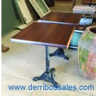 Mesas con pata de hierro fundido. Disponible pie suelto.
